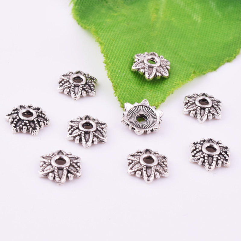 50pcs 7mm Charms Tibetan Silver Flower Spacer Bead Caps Jewelry Bracelet Making