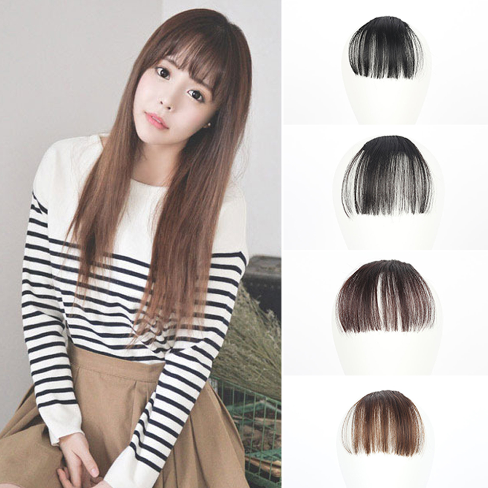 1pc Thin Neat Air Bangs Hair Extension Clip Natural Fringe Front