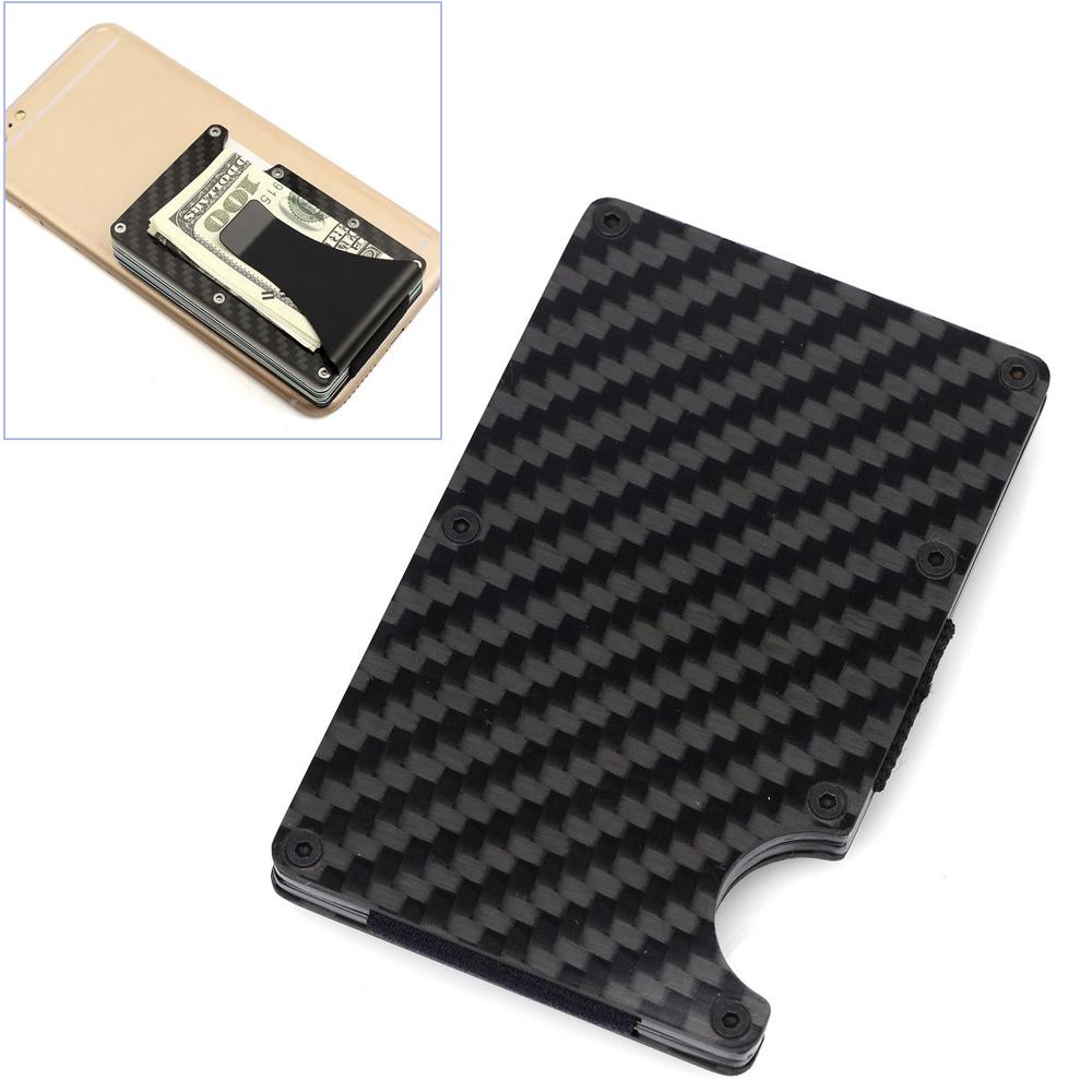 Black Carbon Fiber Slim Bank Debit Card Holder Money Clip Business ...