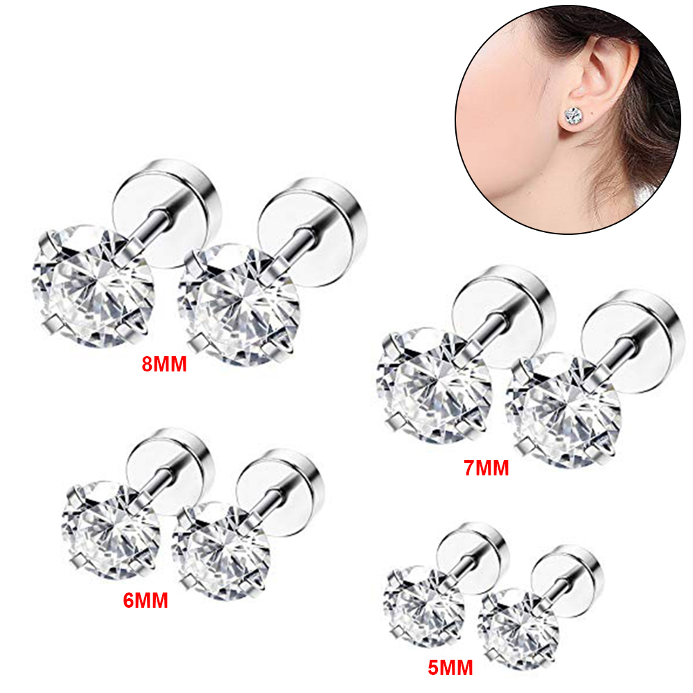 5af7267ca0574 Details about 8pcs Mens Ladies White Cubic Zirconia Stud Earrings Stainless  Steel Screw Back