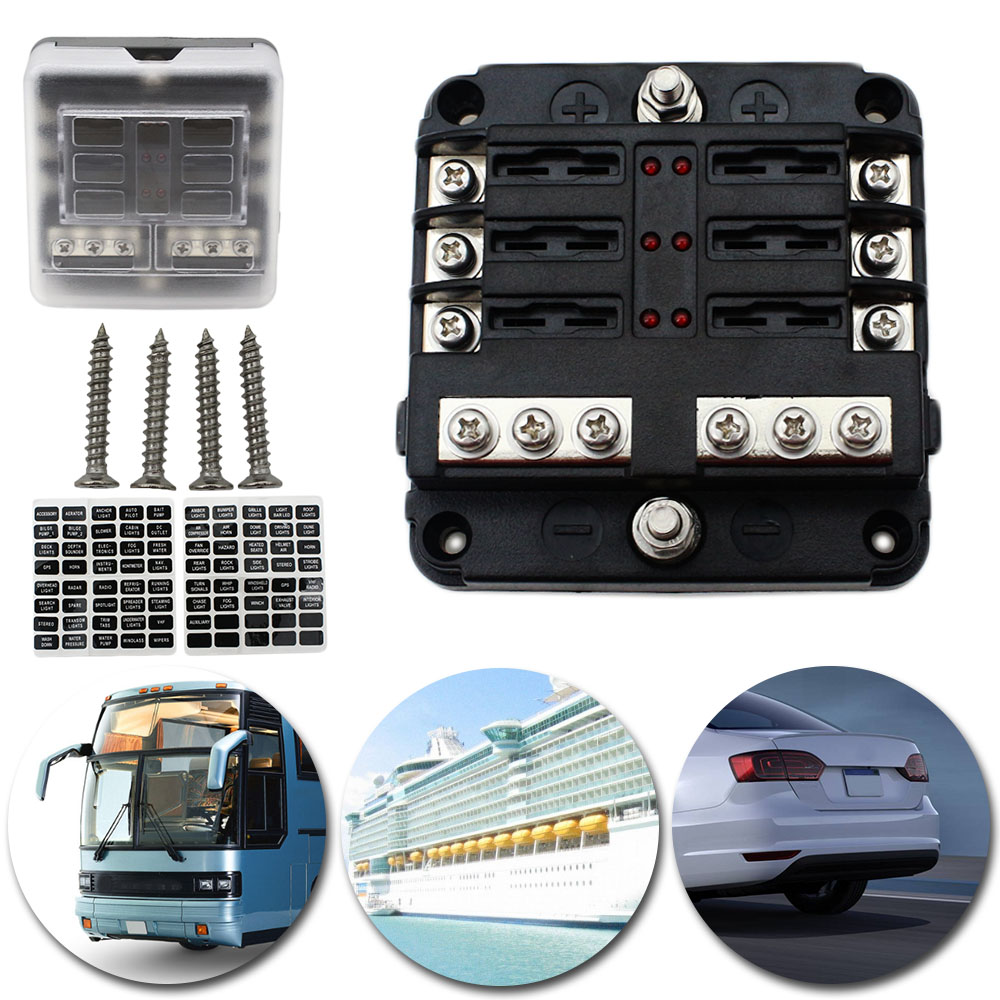 Universal 6-Way Blade Fuse Box Boat Bus Car 12V Automotive Holder Wiring Block