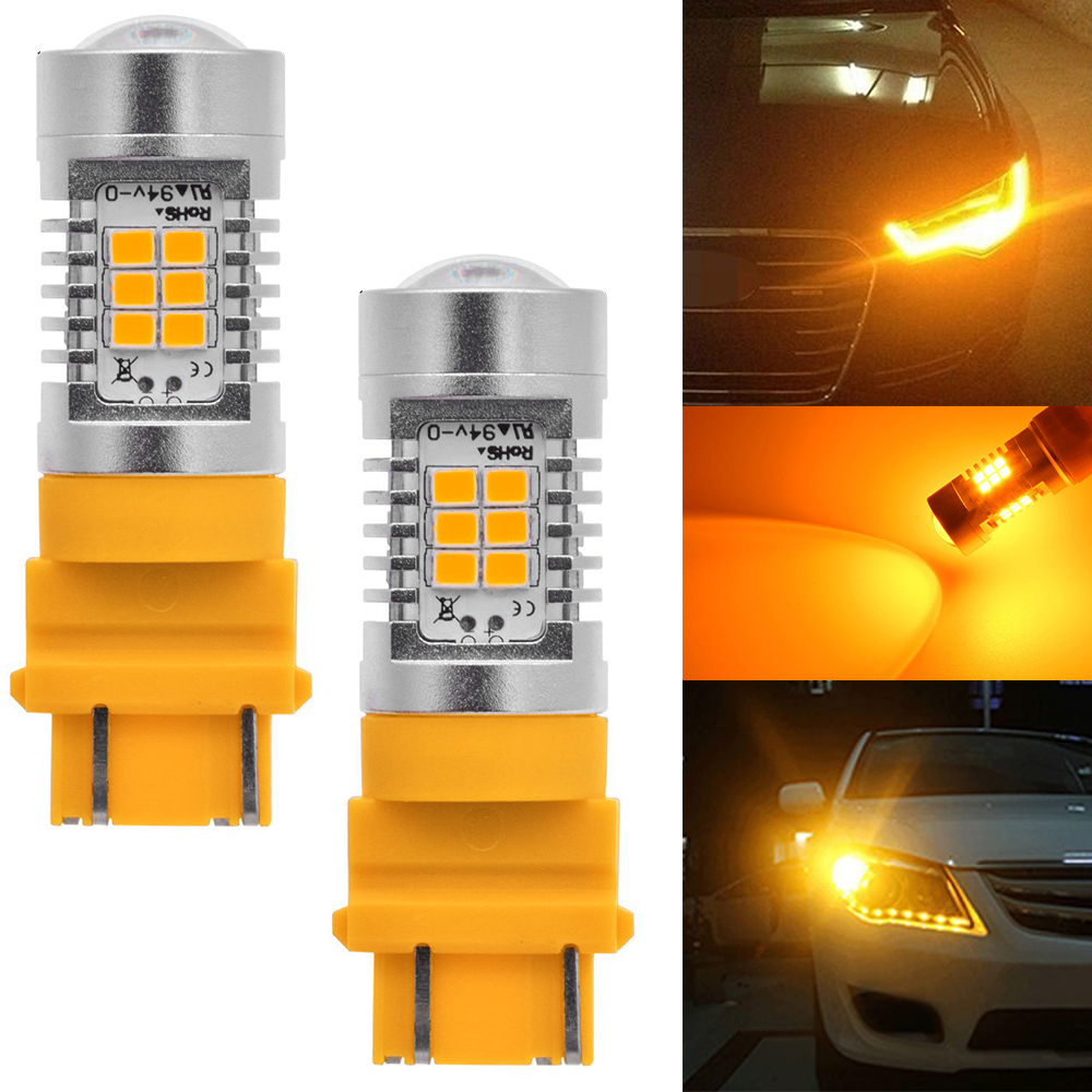 2Pack 3157 3457 3156 Signal Backup Tail Turn Parking Stop LED Light Bulbs Amber