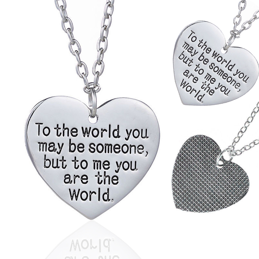 Mothers Day Birthday Gift Mom Wife You Are The World Heart Necklace Great