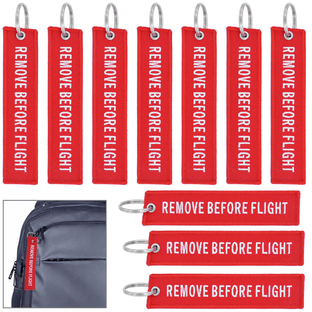 4128047a3191 10pcs Fabric White/Red Remove Before Flight Luggage Keychain Aviation Tags  Rings | eBay