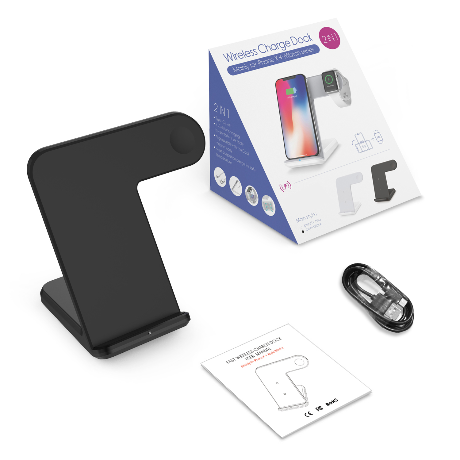 2in1 qi fast wireless charger ladestation ladeger t f r. Black Bedroom Furniture Sets. Home Design Ideas