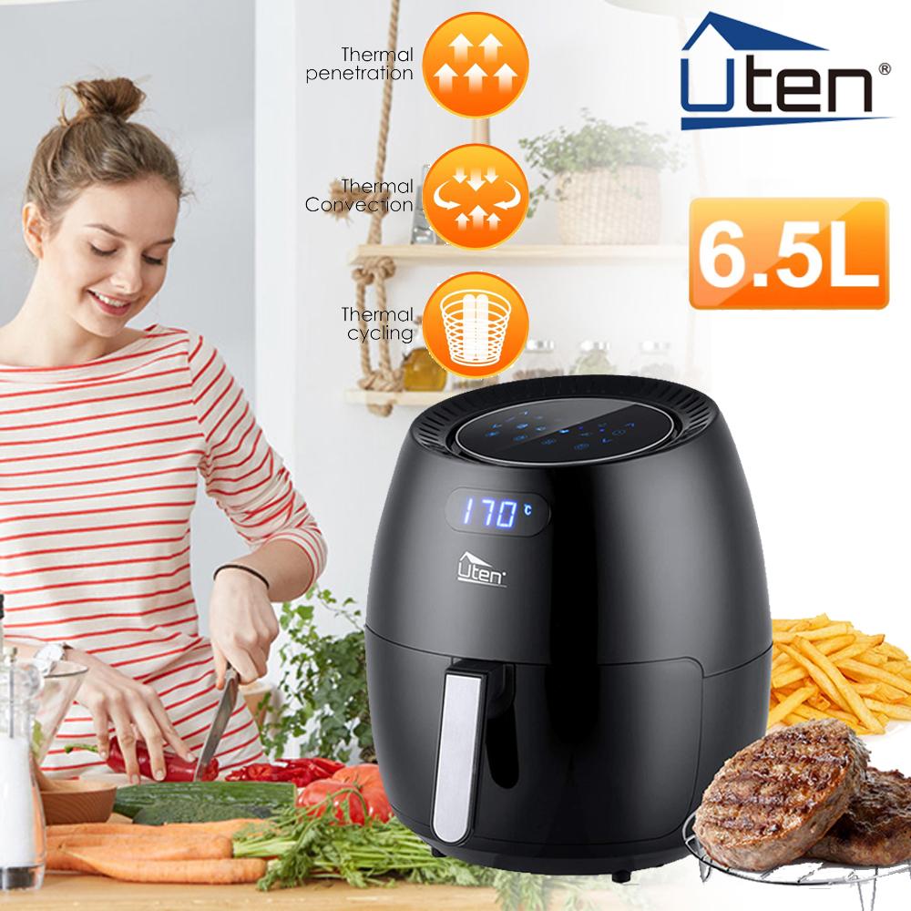 Uten Heißluftfritteuse Fritteusen 6,5L Fryer Umluft Airfryer XXL ohne Fett 1800W