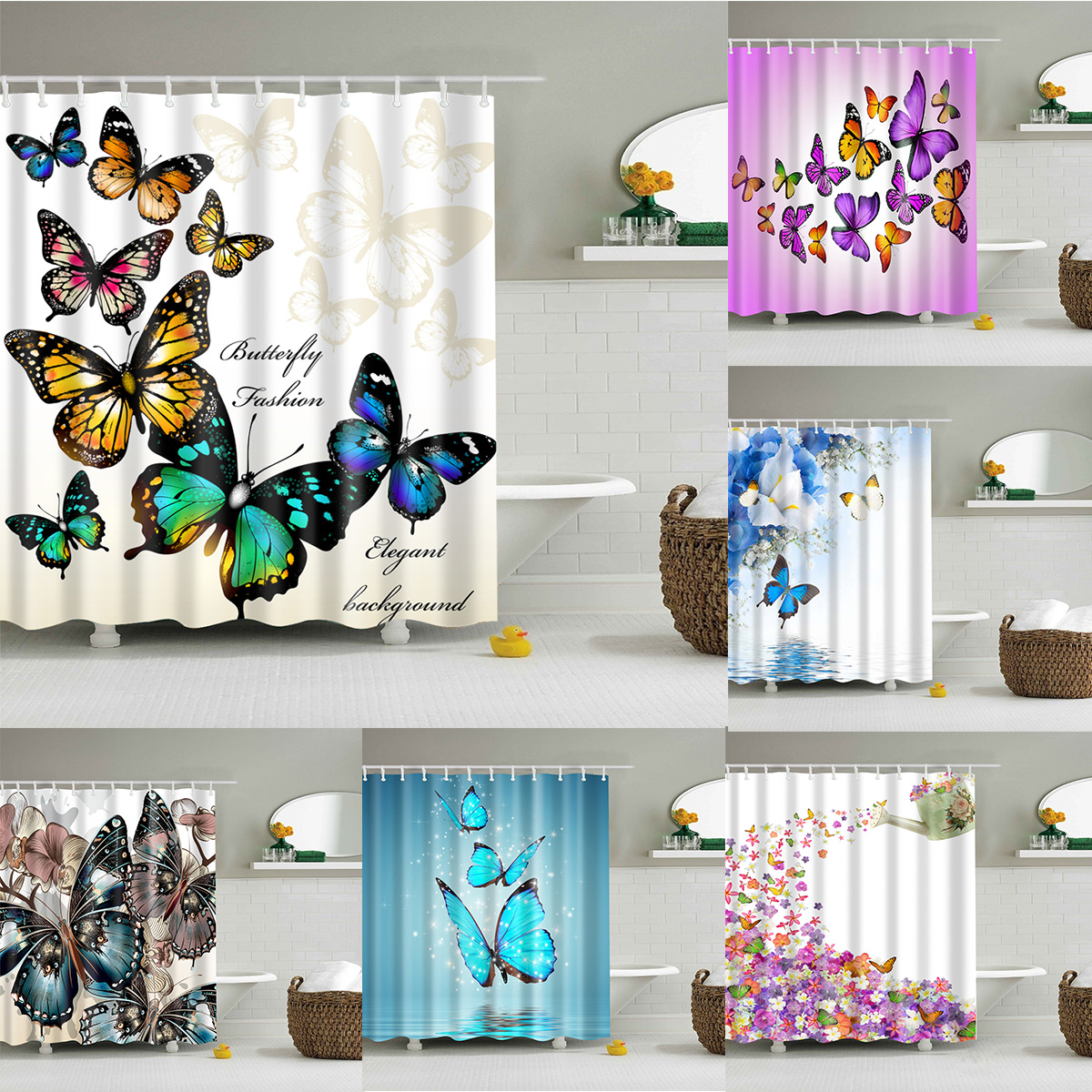 3D Printing Color Butterfly Decor Waterproof Bathroom Shower Curtain Rugs Fabric