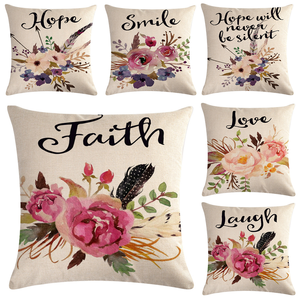 Watercolor Flowers Throw Pillow Covers Floral Leaves Cushion Covers Home Decor Ebay
