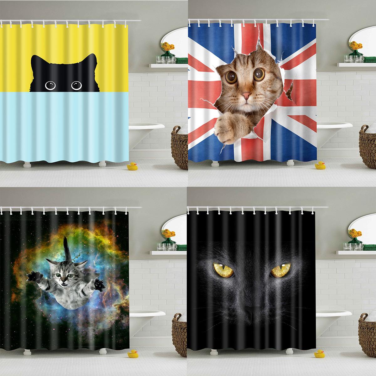"71/""//180*180cm Waterproof fabric Shower Curtain Bathroom home decor Cat bathing"