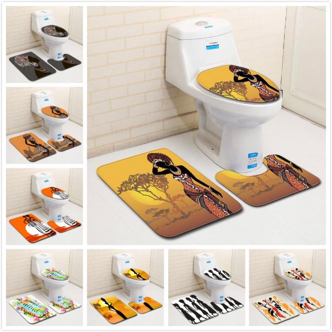 3 Pcs African Girl Bathroom Rug Ethnic Soft Skidproof Toilet Lid Cover Bath Mat