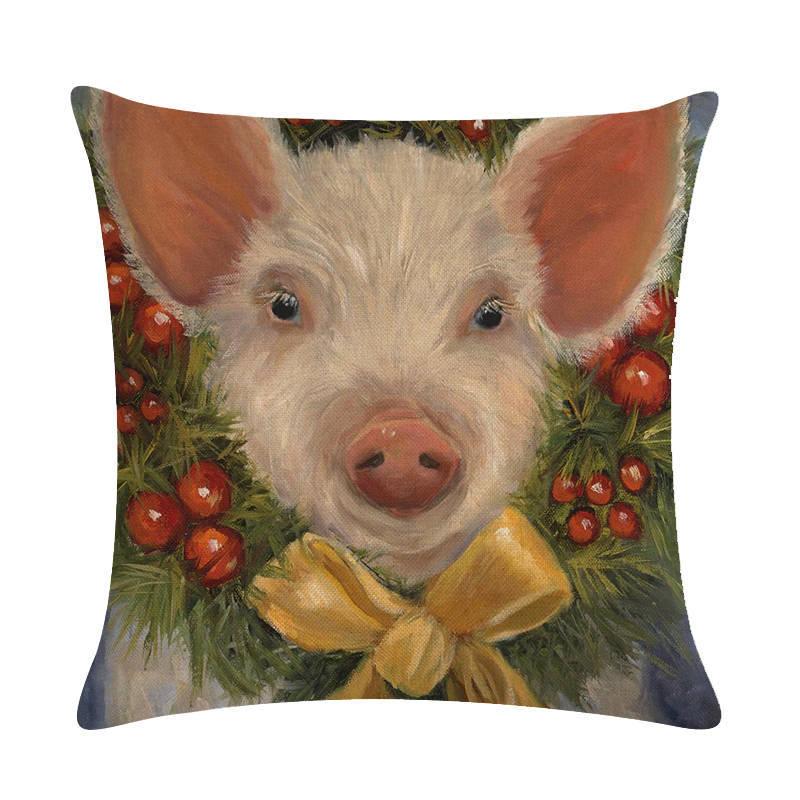 Cow & Pig Printed Cotton Linen Throw Pillow Case Sofa Square Waist Cushion Cover