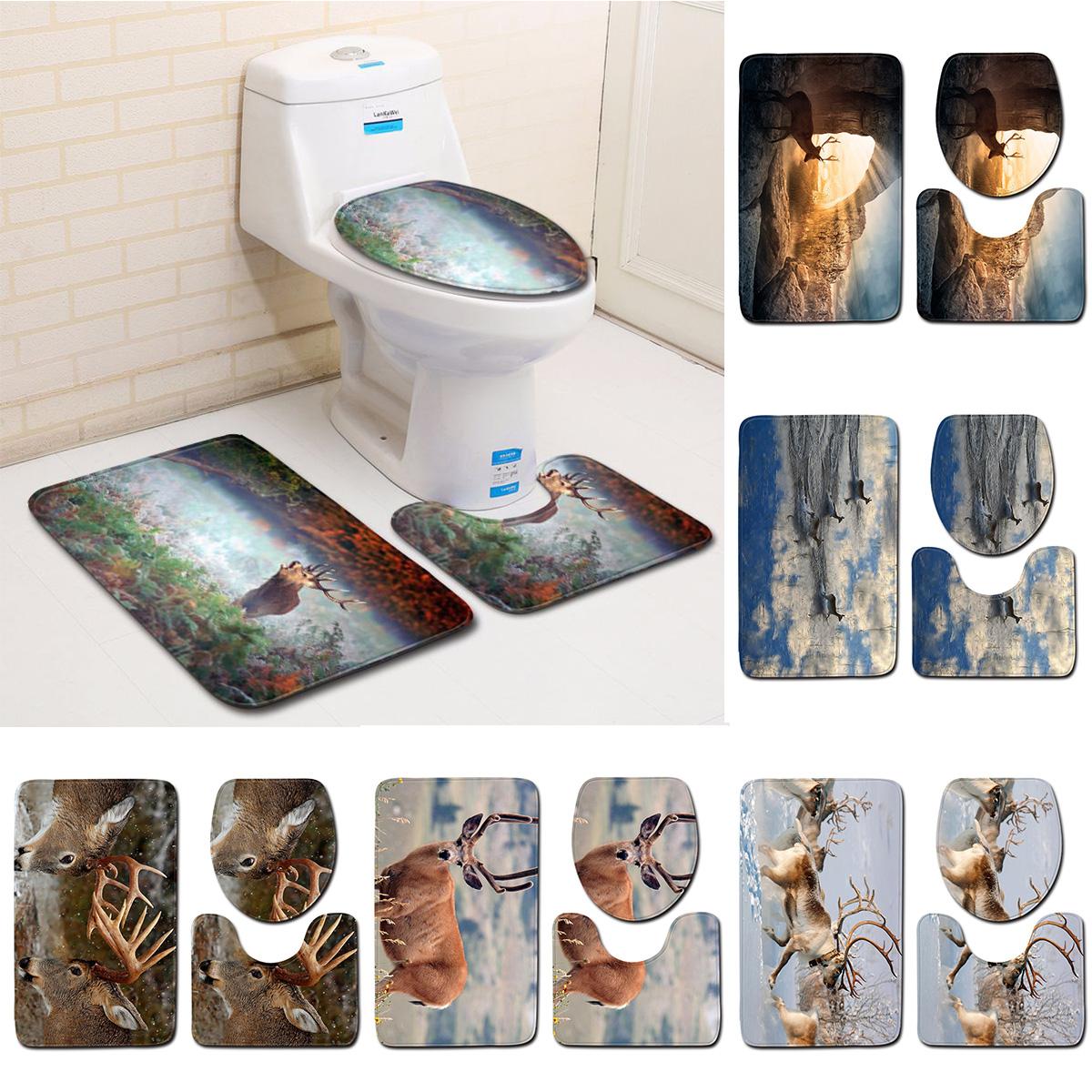 Deer Bathroom Bath Mat Carpet Rug Sets