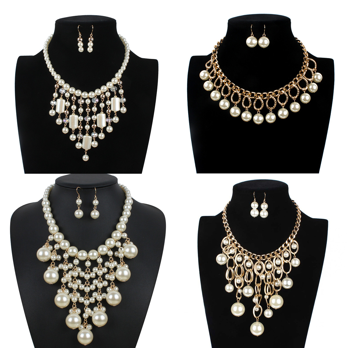 Fashion Choker Necklace Imitation Pearl Beads Fake Collar Statment Necklace Girl