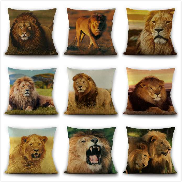 18 Animals Lion Throw Pillow Case Linen Pillow Cover Cushion Cover Home Decor Ebay