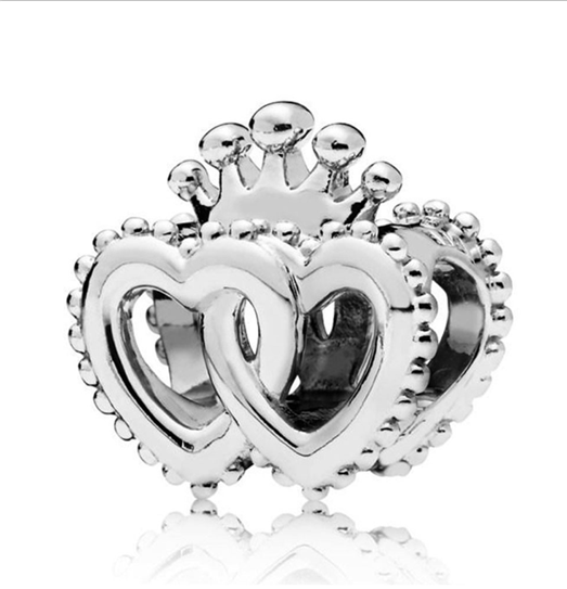 DIY Fashion 925 Silver Heart Charm European Spacer Beads Fit Necklace Bracelet !