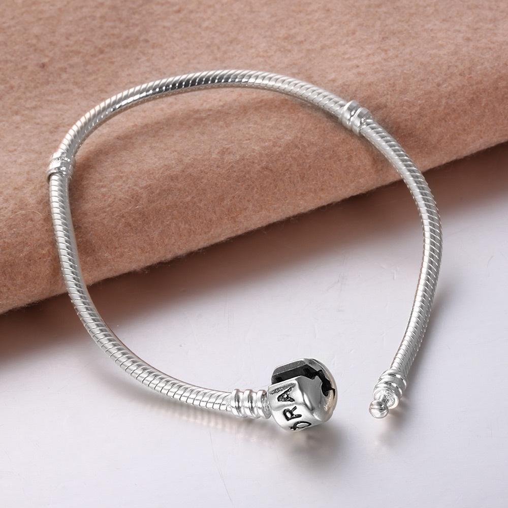 925 Sterling Silver Pandora Charm Bracelet With Lock Snake