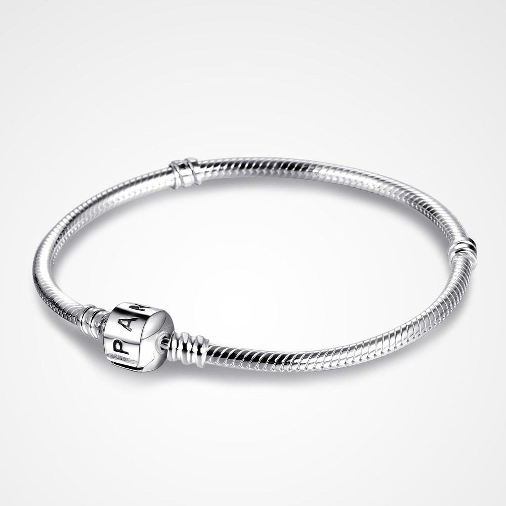 43c583170 You may also like. 925 Sterling Silver Pandora Charm Bracelet with Lock  Snake Chain Jewelry Gift