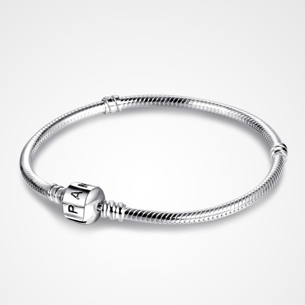 Pandora Silver Necklace 50cm: 925 Sterling Silver Pandora Charm Bracelet With Lock Snake