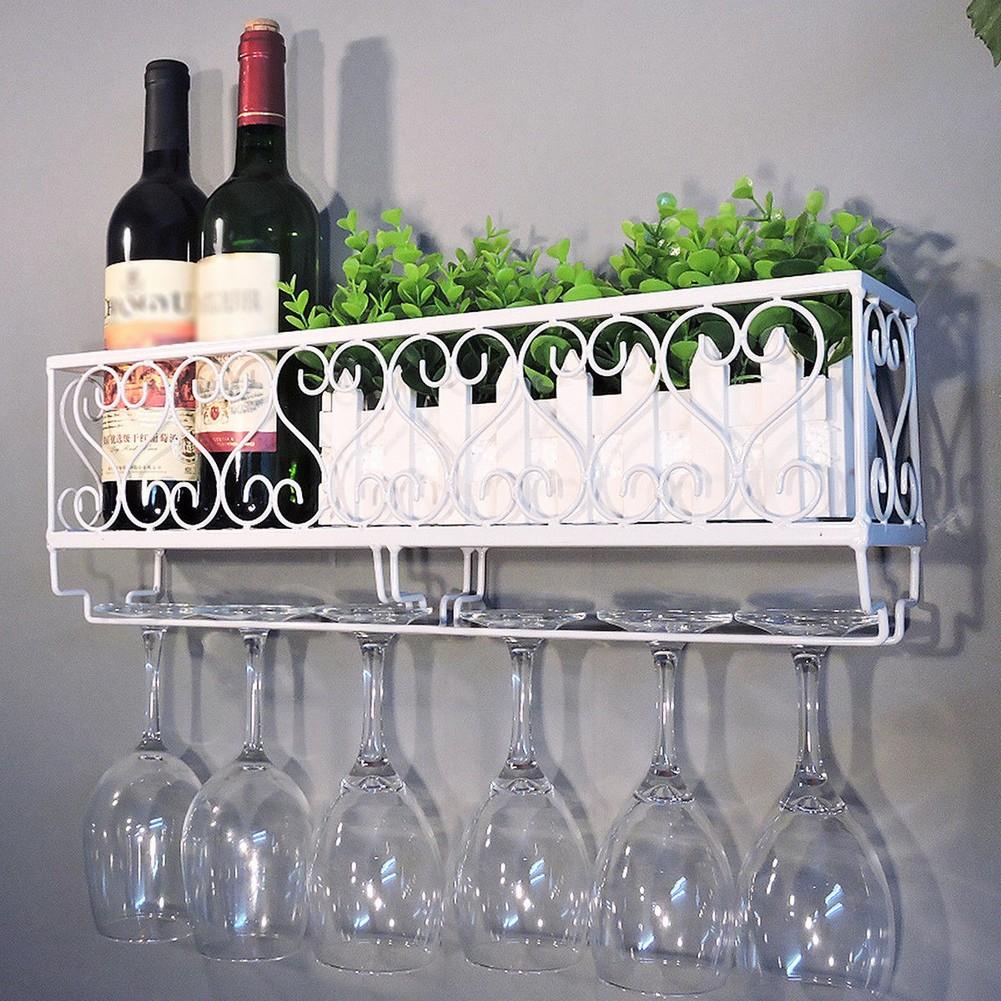 Wall Mounted Iron Wine Rack Bottle Champagne Glass Holder Shelves