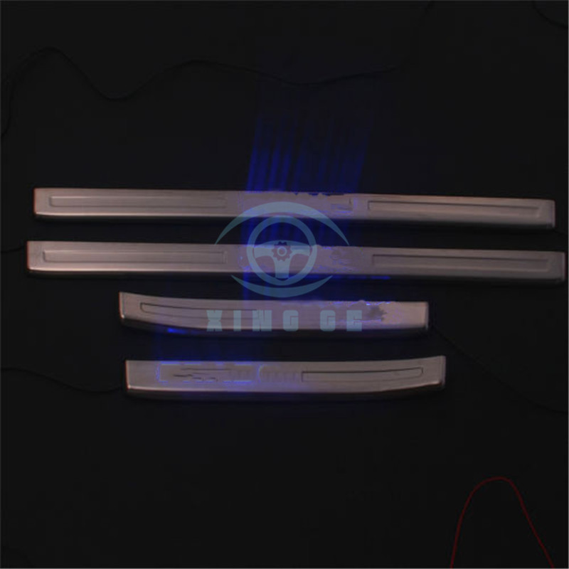 4PCS Stainless Blue Led Door Sill Scuff Plate Trim for Toyota Prado 2010-2016