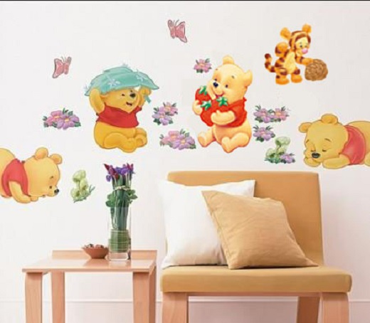 winnie the pooh wall decals tigger animal kids room nursery stickers decor home ebay. Black Bedroom Furniture Sets. Home Design Ideas