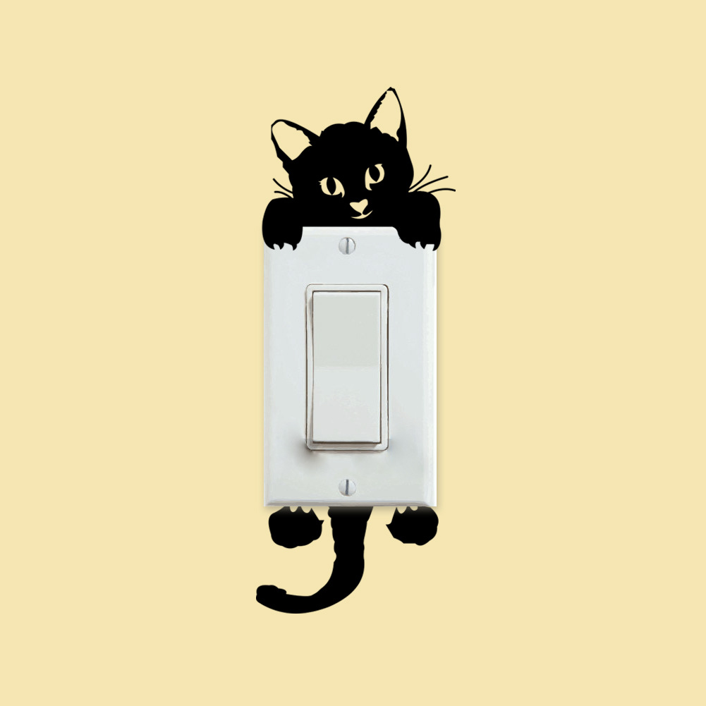 DIY Black Cat Light Switch Gift Wall Bedroom Stickers Decor Decals ...