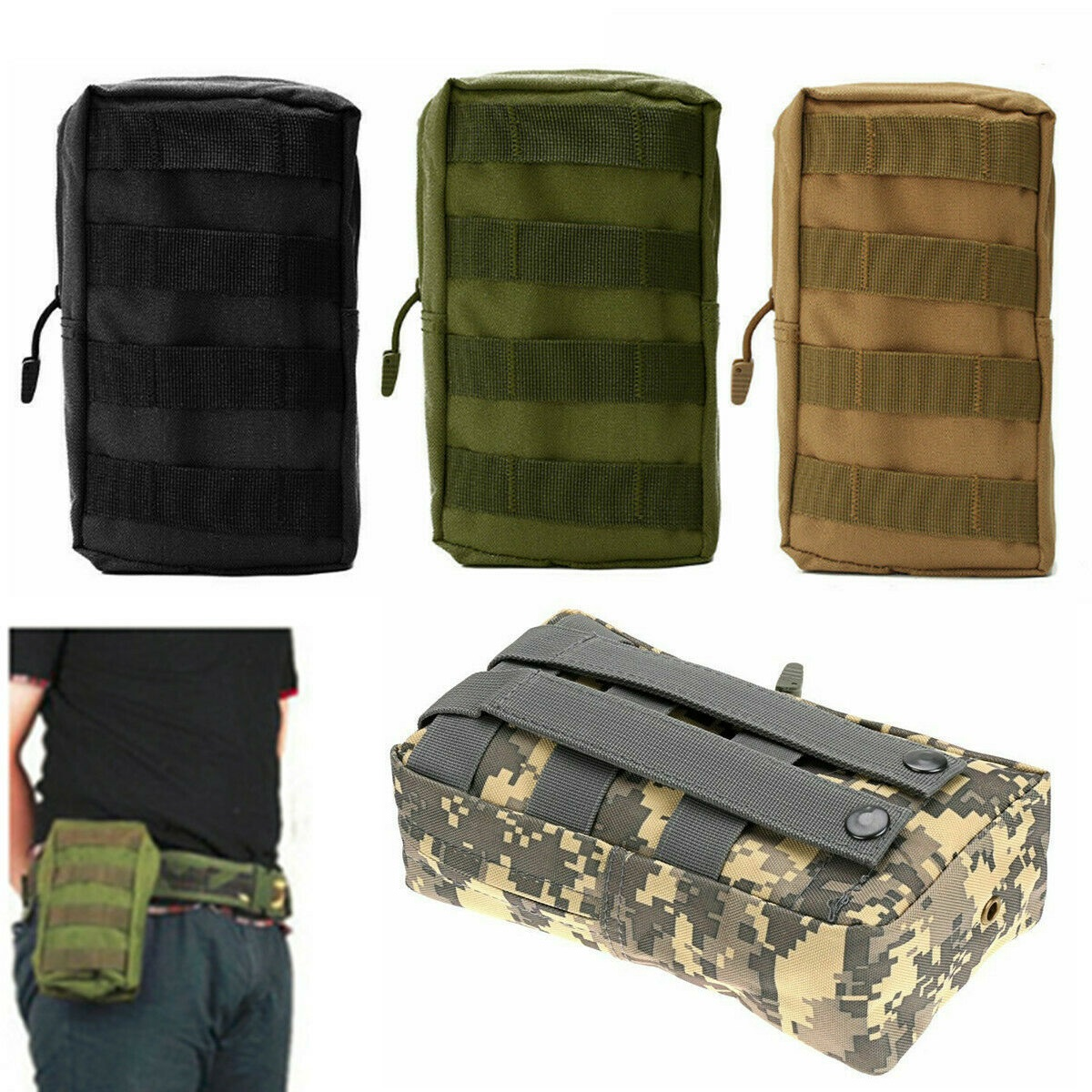 Bag Belt Molle Pouch Tactical Waist Pack Outdoor Military Pack Phone Pocket EDC