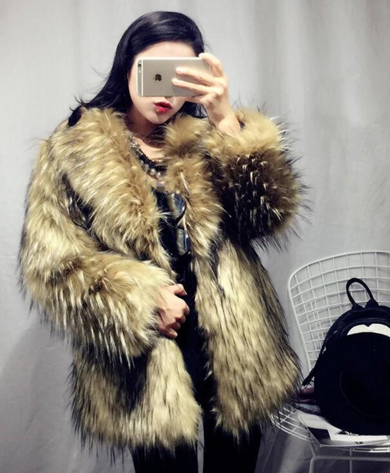 Leopard Fur Trench Chic Womens Warm Winter Lapel Long Jacket Parka Outwear Coat