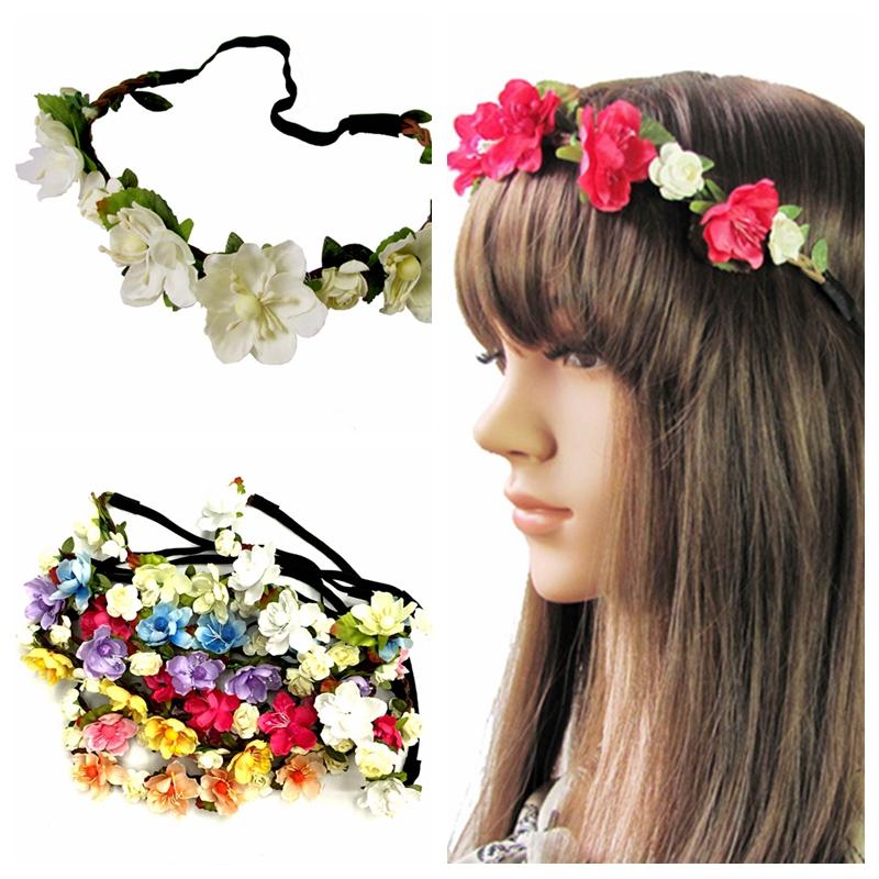 Boho Stirnband Hippie Haarband Kopfband Blumen Rosen Party Haarschmuck