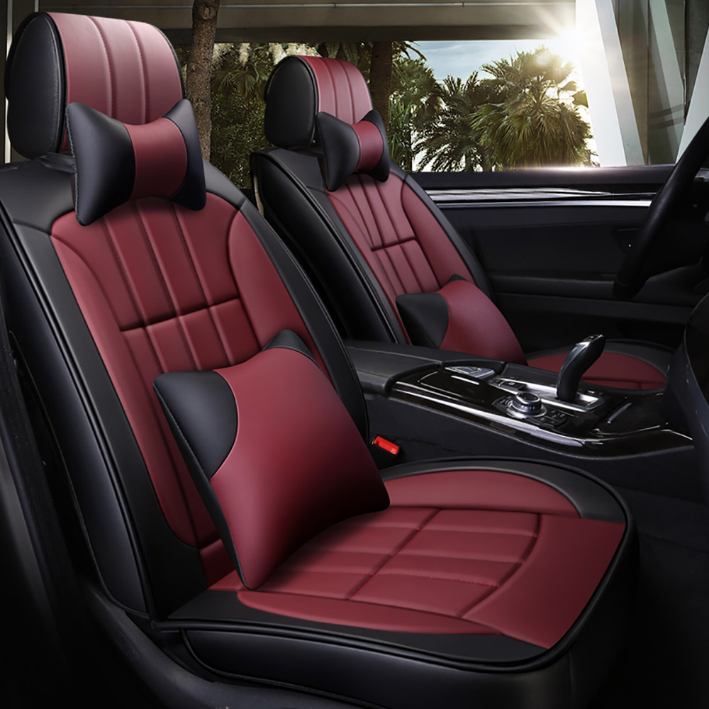 Details about Universal Car Seat Cover Set Headest Cushion Burgundy Luxury  PU leather Interior
