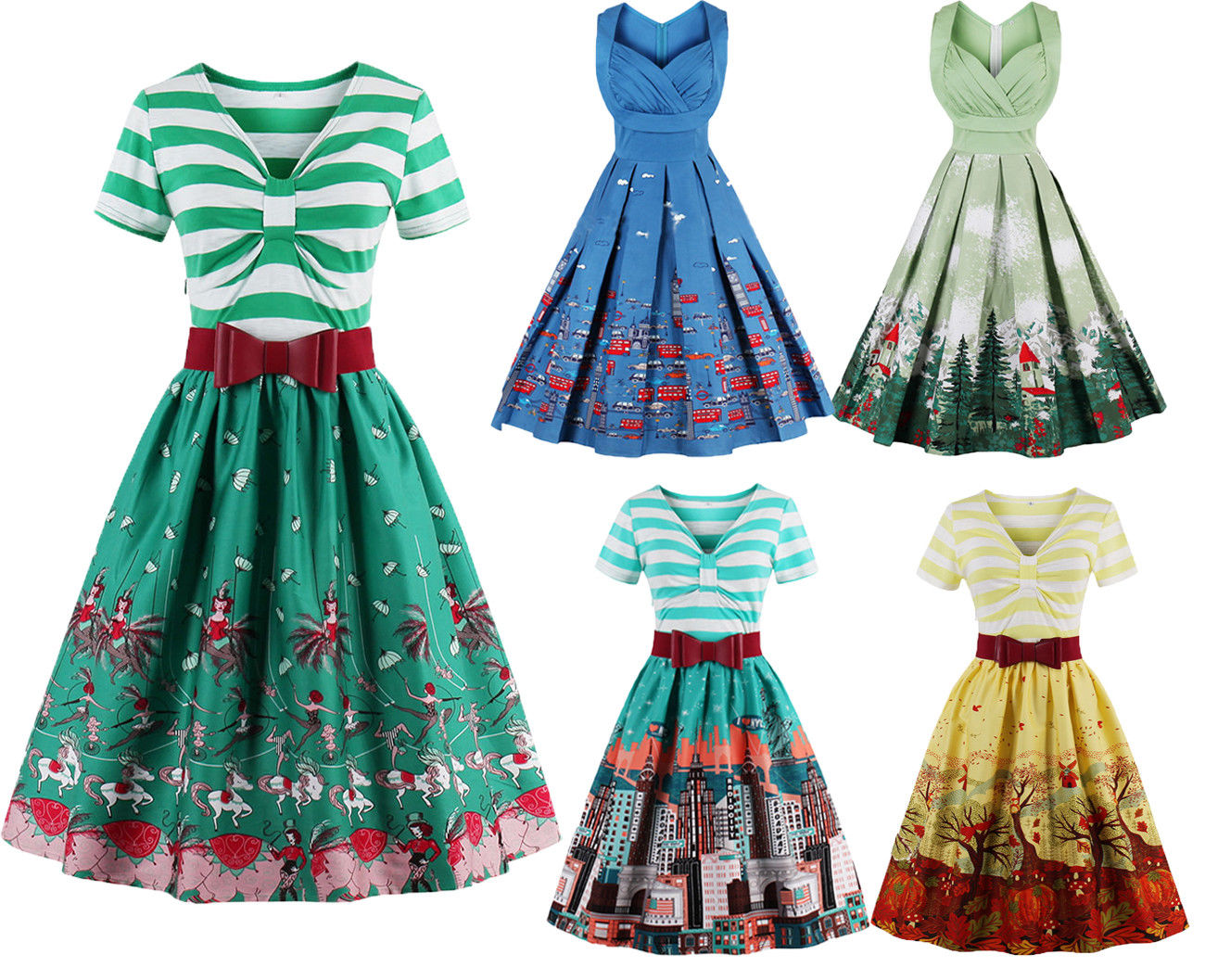 Womens Vintage Dress Panel Vintage Xmas Swing Retro Colorful Party ...