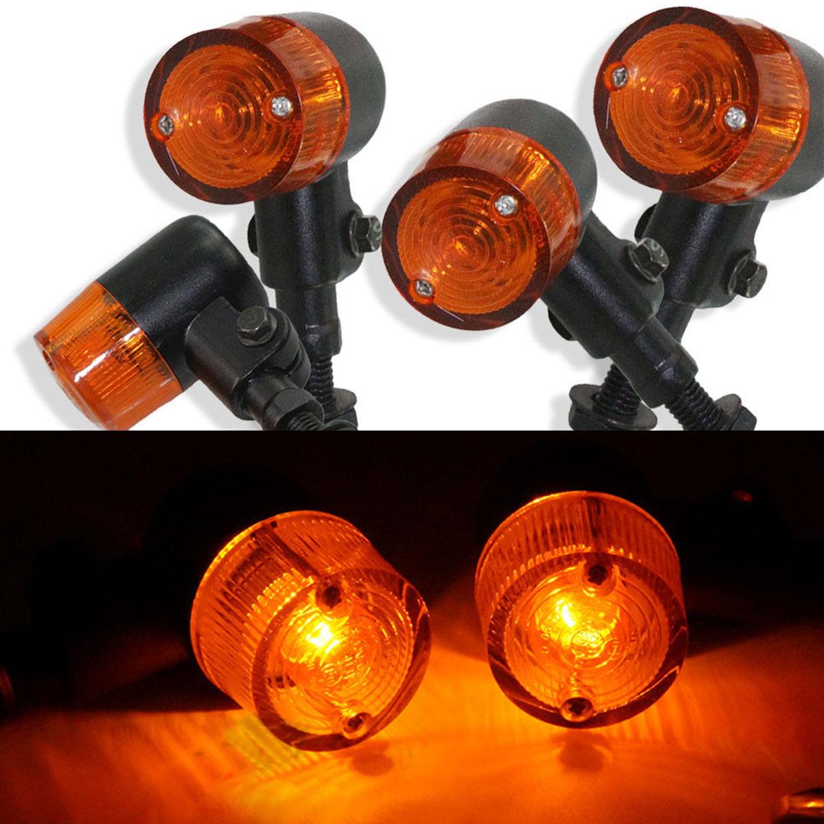 4X Metal Motorcycle Bullet Indicator Light Turn Signal Lamp For Harley Bobber
