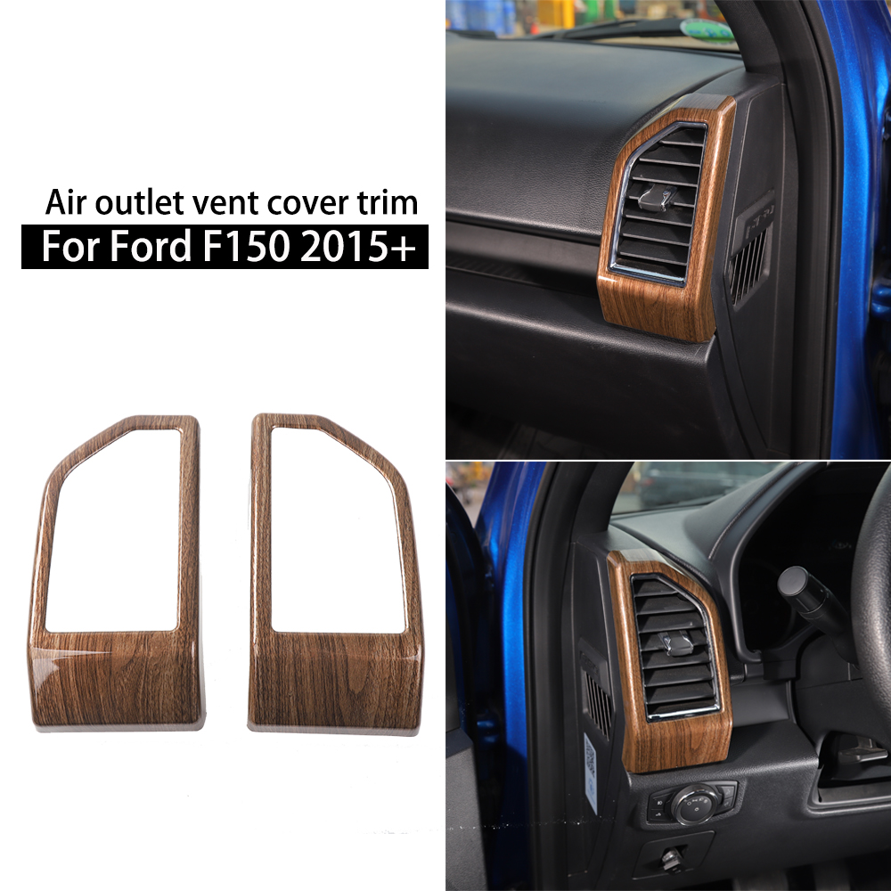 Wood Grain 2pcs//set Car Dashboard Air Conditioning Vent Outlet Cover Frame Decor Trim for Ford F150 2015 2016 2017