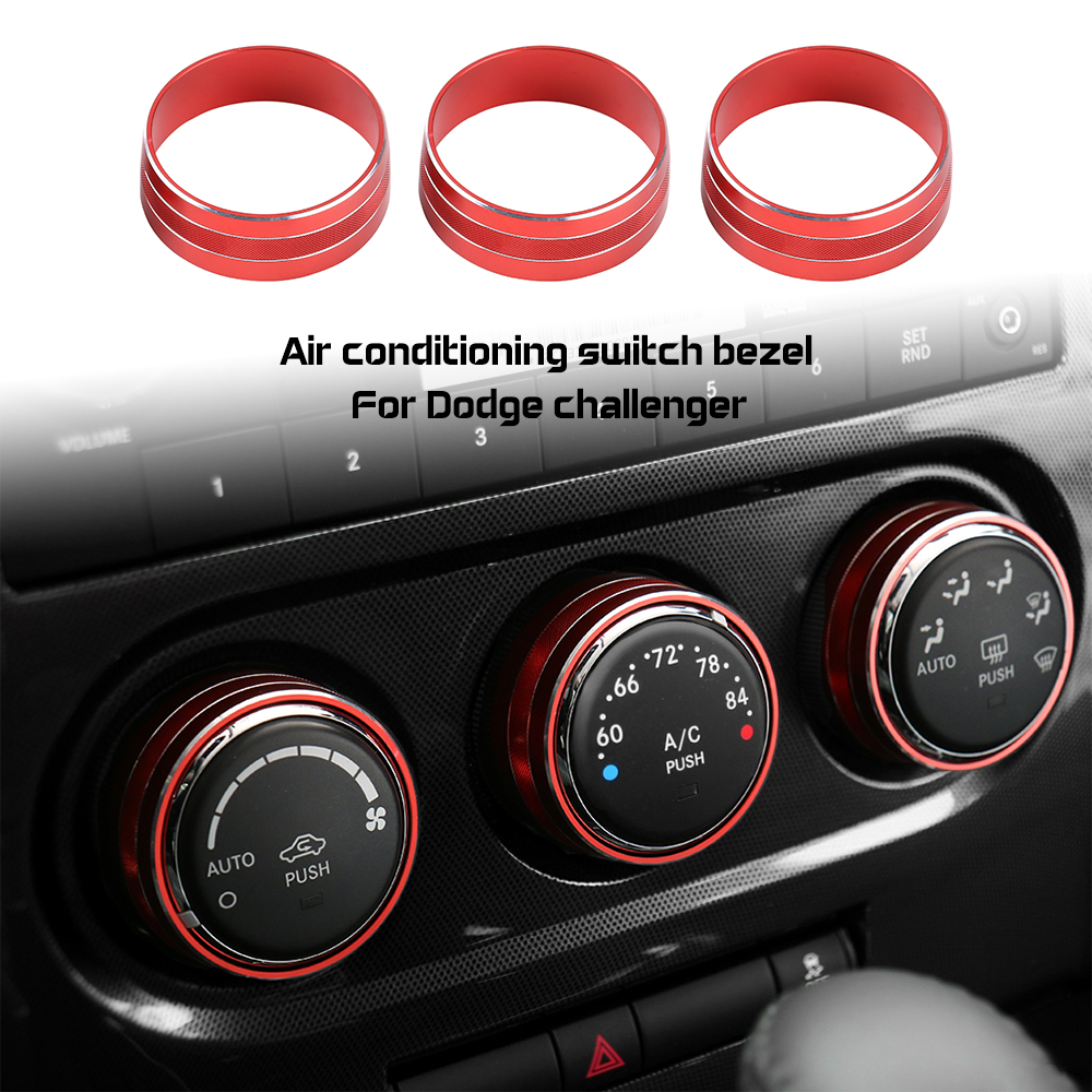 Air Conditioner AC Switch CD Button Knob Ring Cover Trim Aluminum Alloy Fit for Dodge Challenger Charger 2015-2019 Red