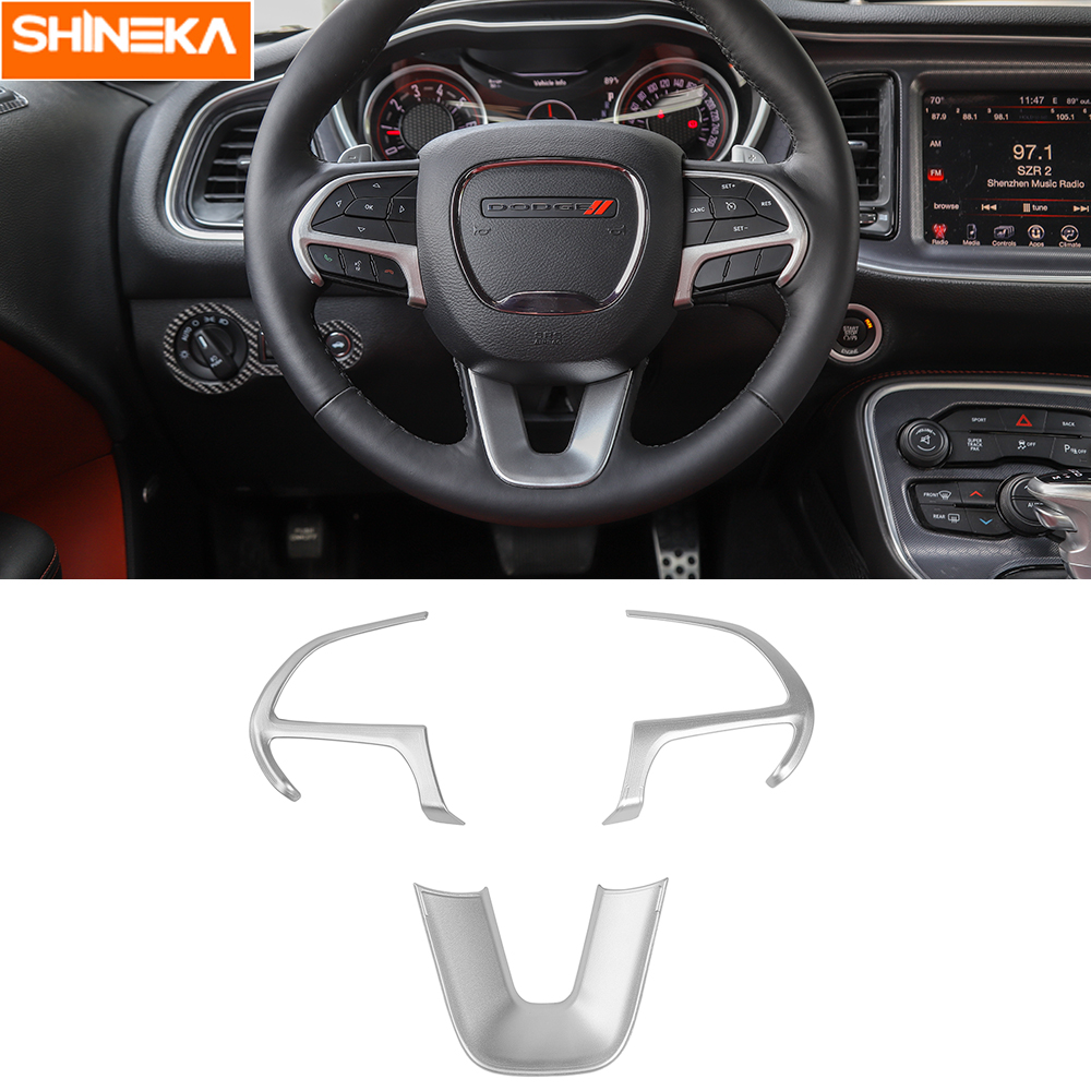 Carbon Fiber Steering Wheel Moulding Cover Trims for Dodge Challenger 2015-2019