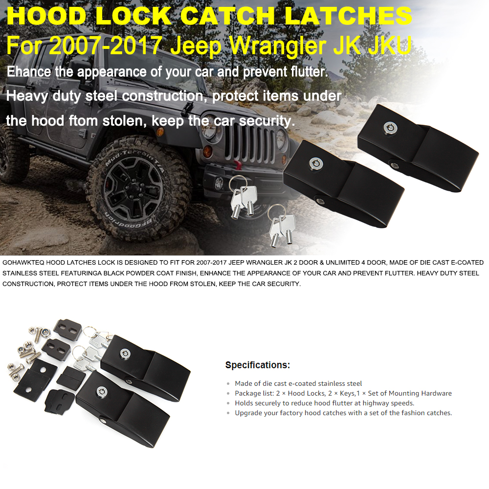 Hood Latches Stainless Steel Latch Locking Hood Fit for Jeep Wrangler 2007-2018 JK JL