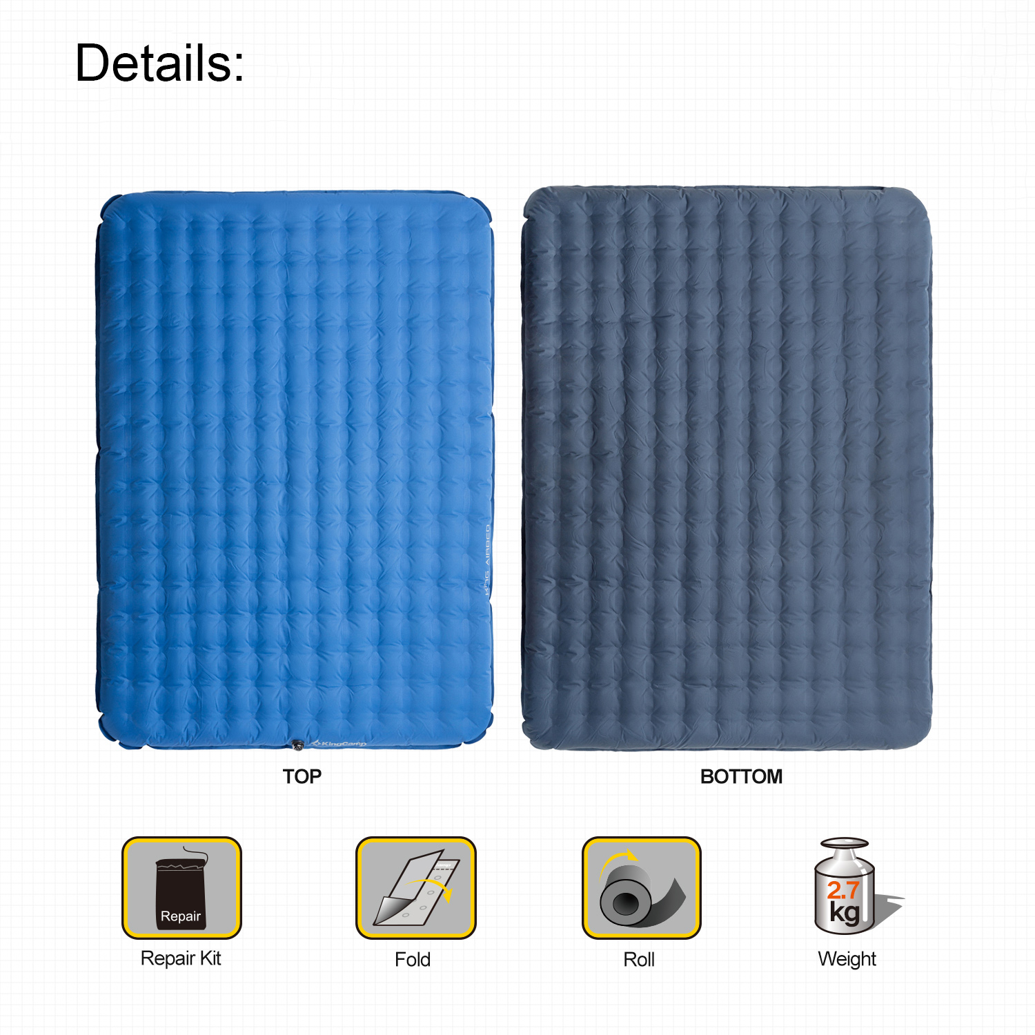 KingCamp Air Matelas Gonflable Simple Double 1-2 personne Tapis Camping Couchage