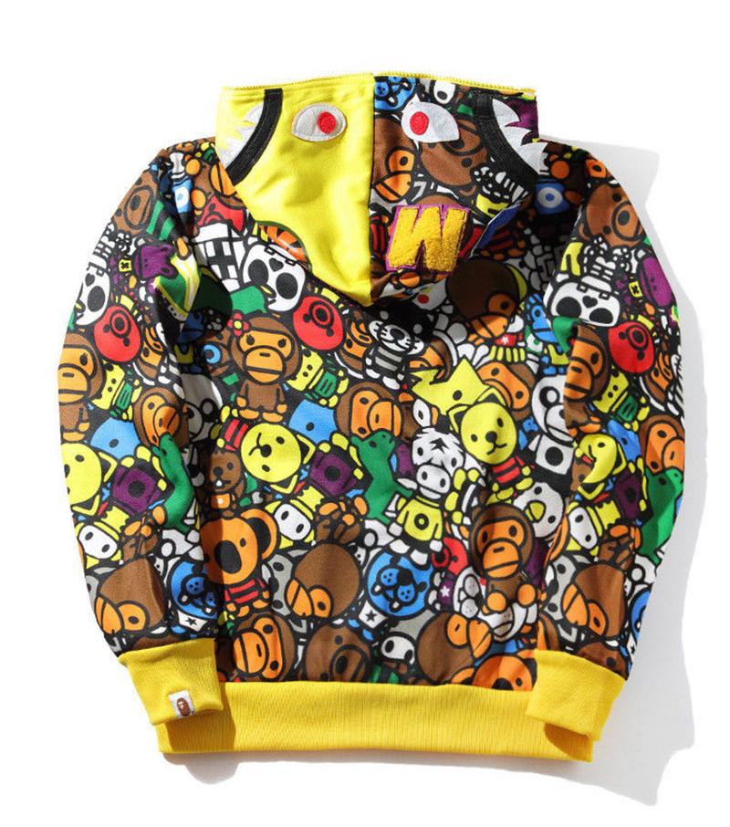 Men/'s Bape A Bathing Ape Cartoon Animal Full Zip Hoodie Sweatshirt Hooded Jacket