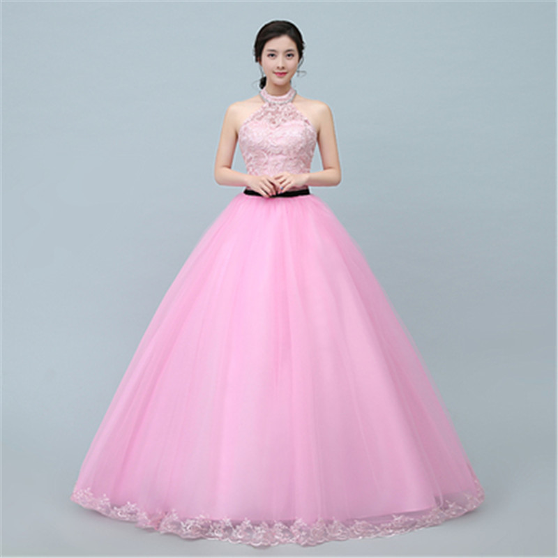 Korean Pink Sweet Lace Full-length Bridal Gown Tulle Wedding Dresses ...
