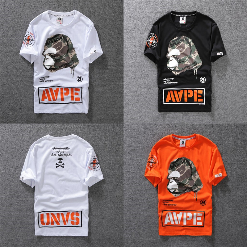 b8ef363f Details about Bape Summer Casual T-shirt A Bathing Ape Monkey Head T-Shirt  Couples Tee Tops
