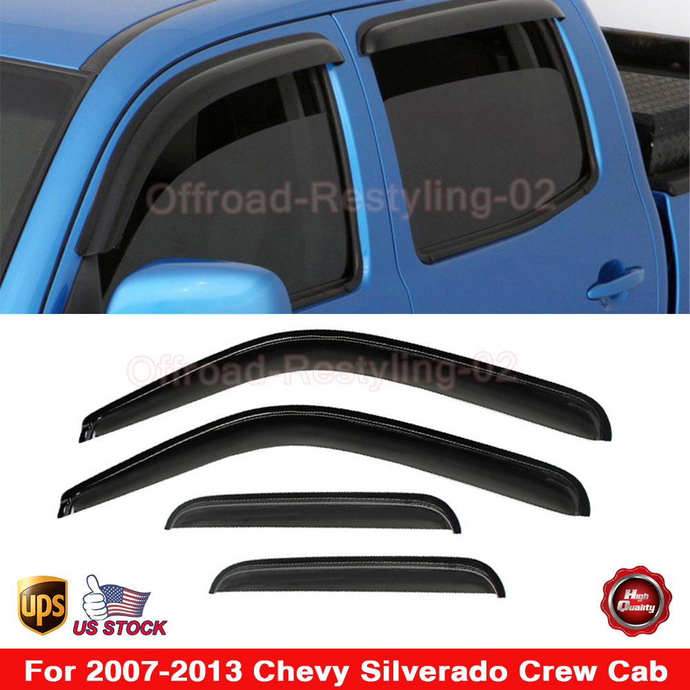 Sierra Extended Cab 2007-2013 Side Window Deflectors with Logo Visor Vent Shades