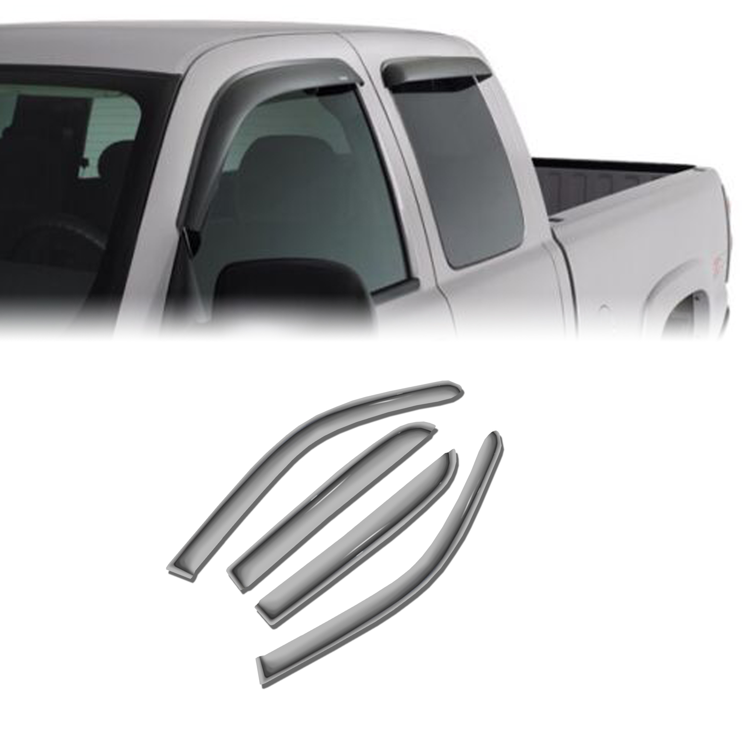 Vent Shade Window Visors Deflector For Nissan Frontier 05 06 07-16 Crew Cab 4pcs