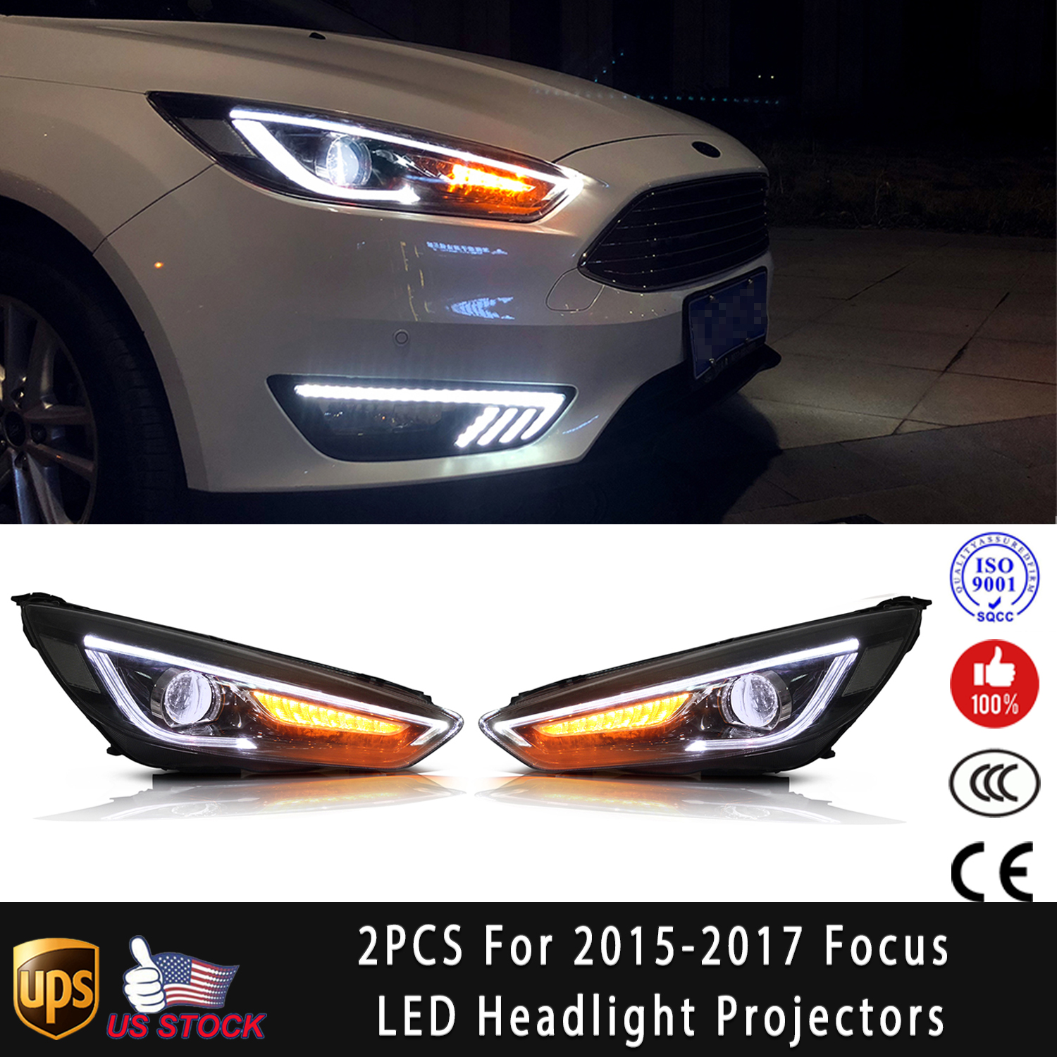 ITEM DESCRIPTION. Fitment: For 2015 2016 2017 Ford Focus Headlights Front  Car Lamp Projector