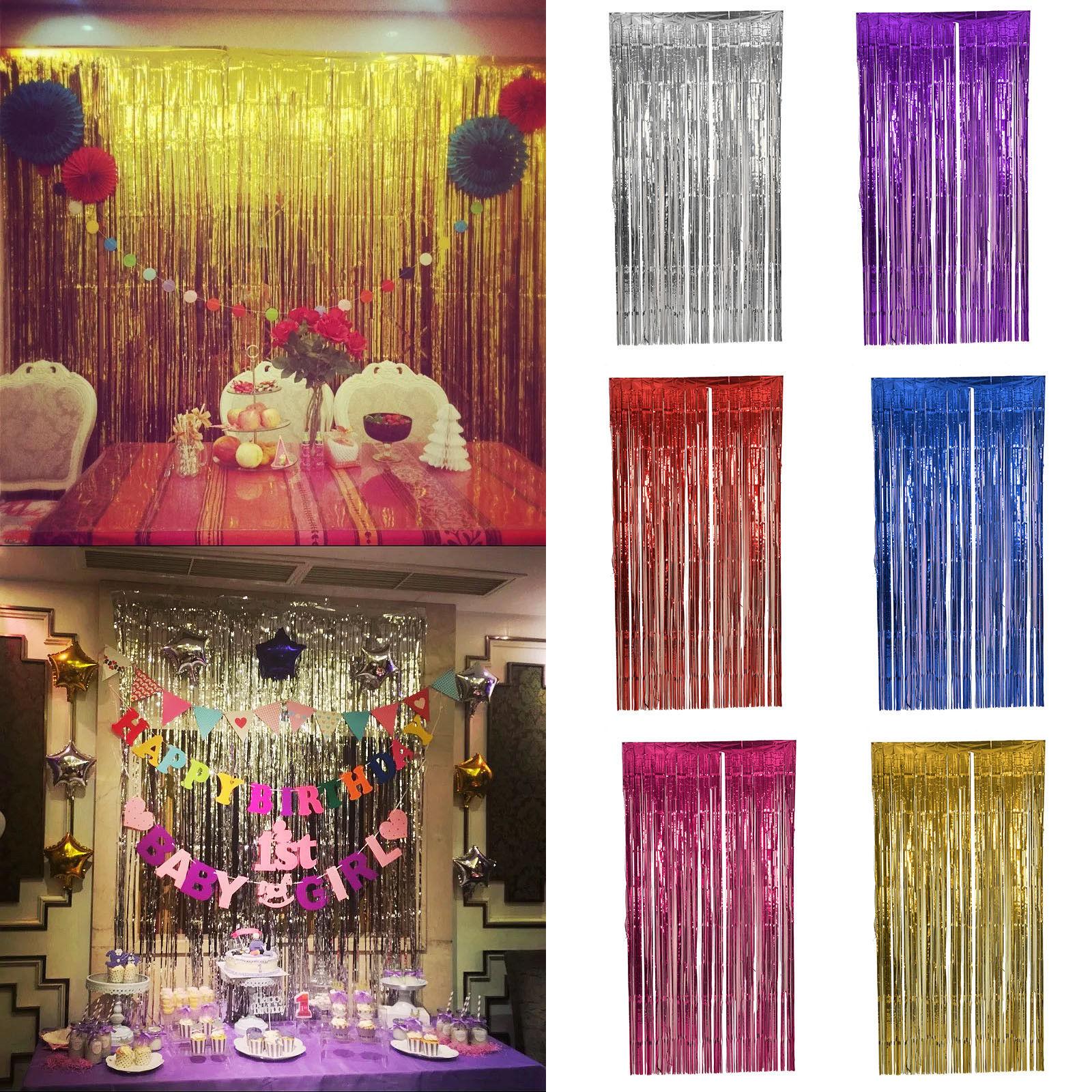 Shimmer Foil Glitter Tinsel Metallic Backdrop Curtain Window Wedding Party Decor