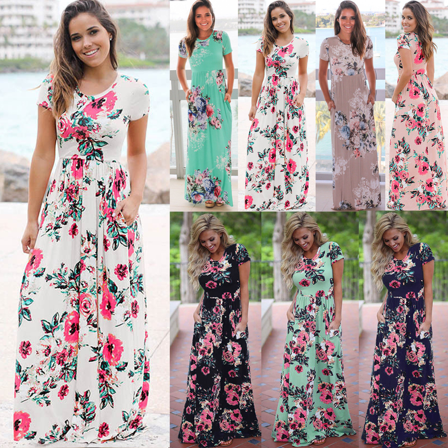 bd32deca624 UK Womens Boho Holiday Dresses Ladies Summer Beach Floral Maxi Dress Plus  Size