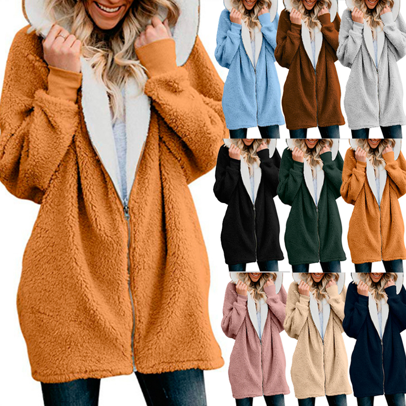 59fa52f94 Womens Teddy Bear Hooded Overcoat Ladies Zipper Loose Hoodies ...