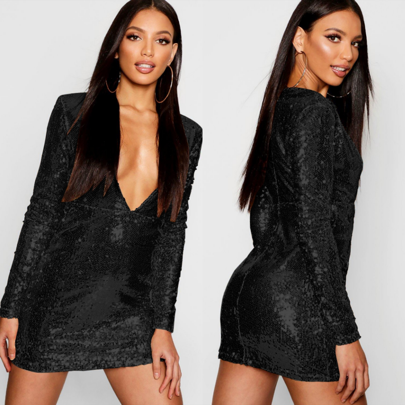 d2bac6a7 UK Women's Sequin Long Sleeve Plunge V Neck Bodycon Mini Cocktail Party  Dress