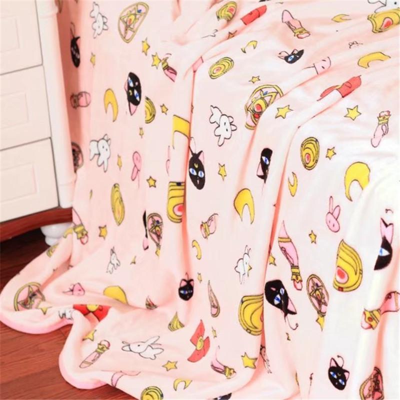 Anime Sailor Moon Tsukino Usagi Cute Luna Cat Throw Soft Flannel Blanket Sheet