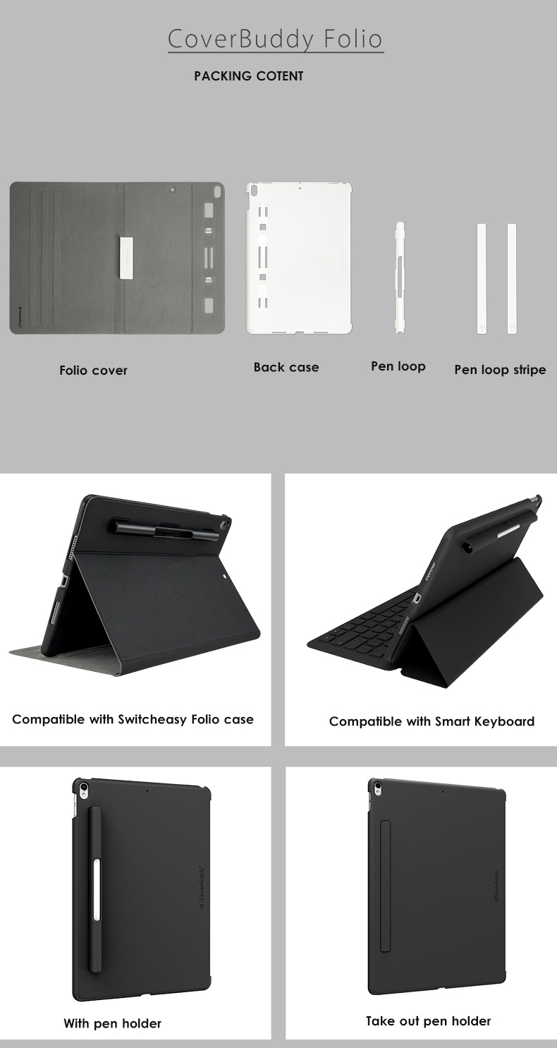 brand new 6d1ce 79864 Details about SwitchEasy CoverBuddy Folio Case for iPad Pro 10.5 & iPad Air  10.5 Pencil Holder