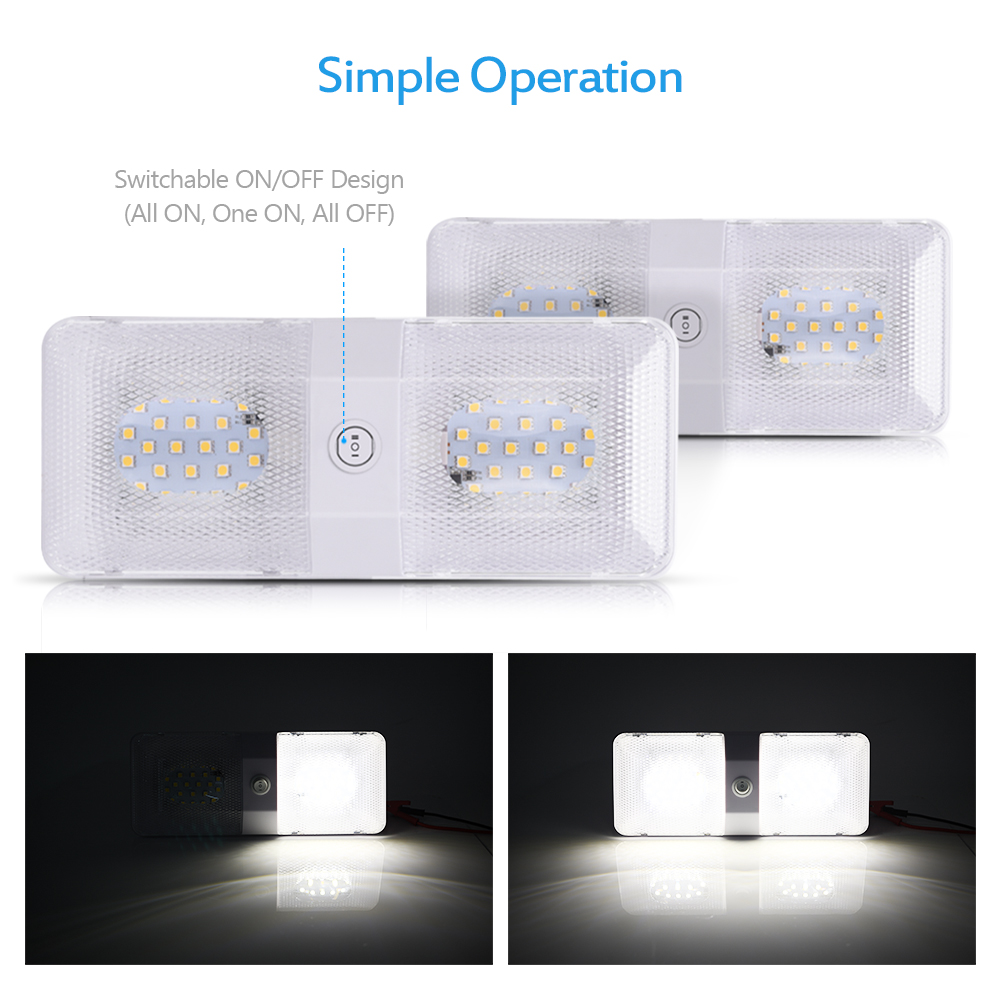 11 18v double led dome light fixture 3 way switch interior ceiling 11 18v double led dome light fixture 3 way switch interior ceiling lamp 2 pack arubaitofo Choice Image